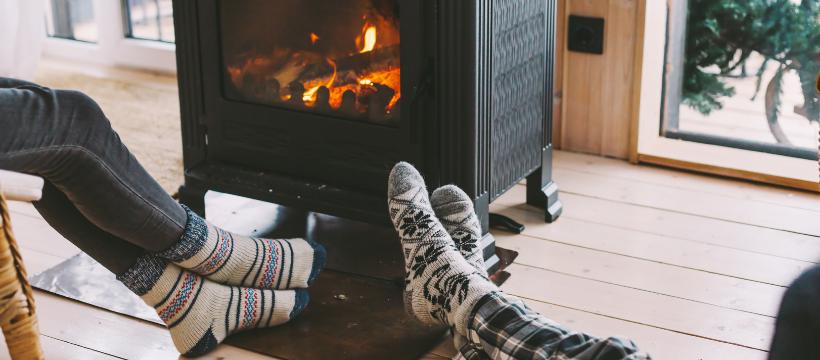 Fireplace in winter